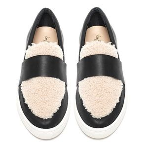 Loeffler Randall irini leather & shearling sneaker